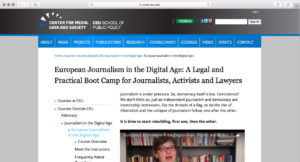 Screenshot from the European Journalism in the Digital Age website