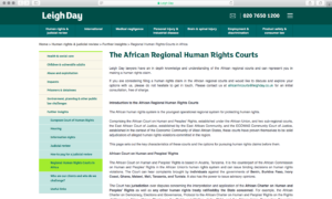 African Regional Human Rights Courts project Leigh Day