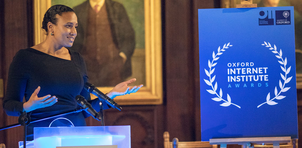 Nani Jansen Reventlow speaks at the 2018 Oxford Internet Institute Awards where she received an Internet and Society Award for her work on digital rights legislation. Photo: OII